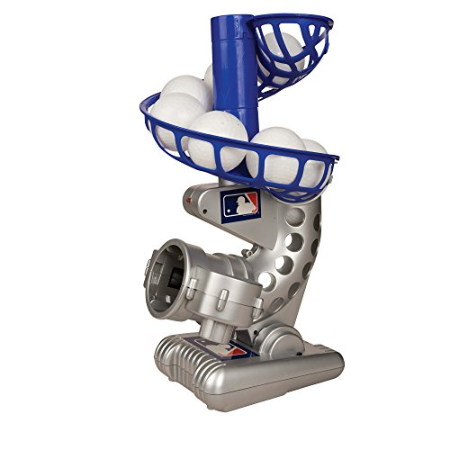 Franklin Sports MLB Electronic Baseball Pitching Machine - Includes Six Plastic Baseballs, Silver/Blue (6696S3)