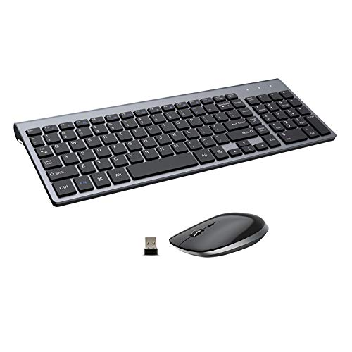 FENIFOX Wireless Keyboard and Mouse,2.4G USB Ergonomic Silent Full-Size Compact for PC Laptop Mac iMac Windows (Black Grey)