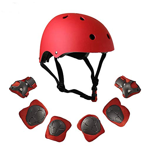 Warm House Kids Toddler Protective Gear and Helmet Sets,3 to 8 Years Old Kids Helmet and Pads Set[Knee Pads,Wrist Pads and Elbow Pads] for Skateboarding, Skating, Scooter, Cycling (Red)