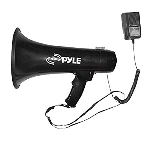 Pyle Portable Megaphone Speaker PA Bullhorn - Built-in Siren, 40W Adjustable Vol Control & 1000 Yard Range, Ideal for Any Outdoor Sports, Cheerleading Fans Coaches & Safety Drills - PMP43IN