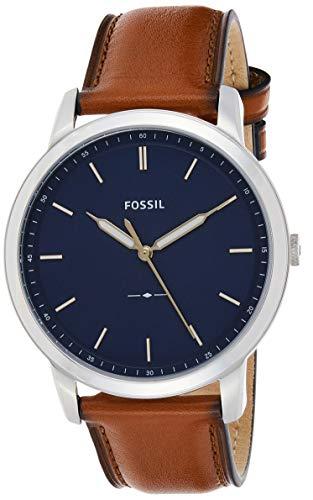 Fossil Men's Minimalist Quartz Leather Casual Watch Watch, Color: Silver/Blue, Brown (Model: FS5304)