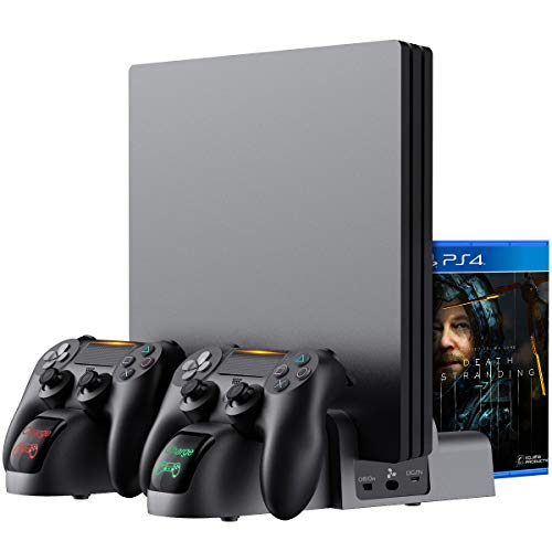 Kootek Universal Vertical Stand for Original PS4/Slim/Pro, Dual Controller Charger Cooling Fan 12 Games Storage, Charging Station with Indicators for Playstation 4 DualShock 4 Wireless Controllers