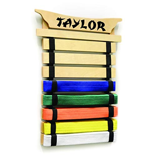 Milliard Karate Belt Display – Holds 8 Martial Arts Belts - Personalize with Stickers