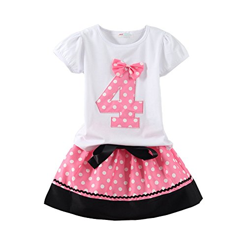Mud Kingdom Toddler Girl Birthday Four Year Skirt Outfit Pink