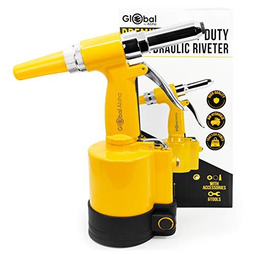 Premium Pneumatic Rivet Gun - Heavy Duty Air Riveter, Pop Riveting Tool Kit With High PSI. 4 Nose Pieces: 1/4', 1/8', 3/16', 3/32', 5/32', 7/32' Capacity. Nose piece Storage At Riveters Base!