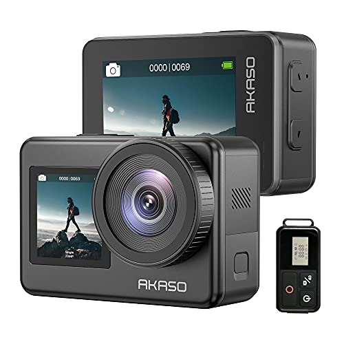 AKASO Brave 7 4K30FPS 20MP WiFi Action Camera with Touch Screen IPX8 33FT Waterproof Camera EIS 2.0 Zoom Support External Mic Voice Control with 2X 1350mAh Batteries Vlog Camera