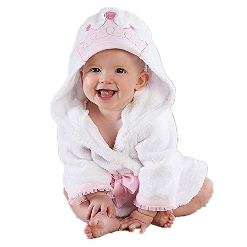 Baby Girl Bathrobe Wash Waddle Princess Crown Hooded Towel Terry Newborn Blankets Bath Robes 0 12 18 Month Ultra Absorbent (White Princess, S)