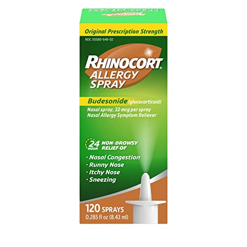 Rhinocort Allergy Nasal Spray with Budesonide Allergy Medicine, Non-Drowsy 24 Hour Relief, Prescription Strength Indoor and Outdoor Allergy Relief, Scent-Free and Alcohol-Free, 120 Sprays
