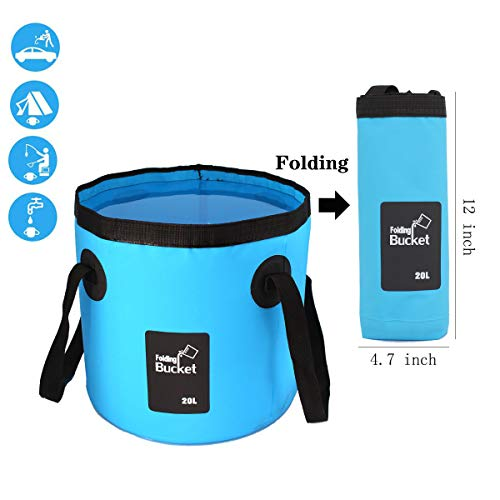 GoldPaddy Collapsible Bucket,Camping Water Storage Container 5 Gallon(20L) Portable Folding Bucket Wash Basin for Traveling Hiking Fishing Boating Gardening-Blue