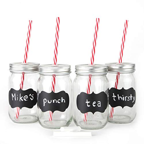Chalkboard Mason Jar Mugs with Tin Lid, Plastic Straws and Chalk. 16 Oz. Each. Old Fashion Drinking Glasses - Pack of 4. by Lily's Home