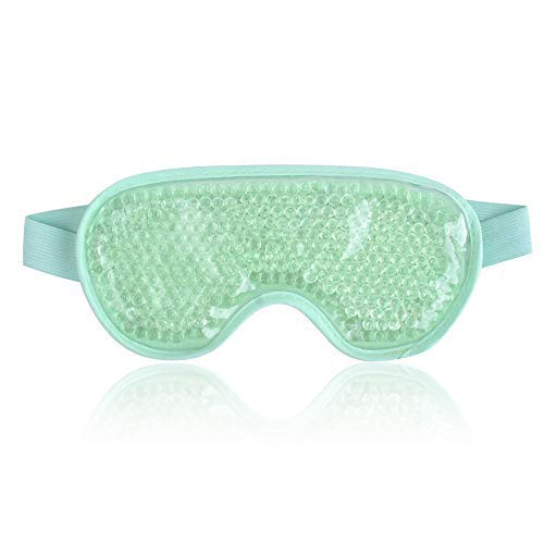 NEWGO Cooling Eye Mask Reusable Gel Eye Mask for Puffy Eyes, Ice Eye Mask Cold Eye Mask Frozen with Plush Backing for Headache, Migraine, Stress Relief - Green