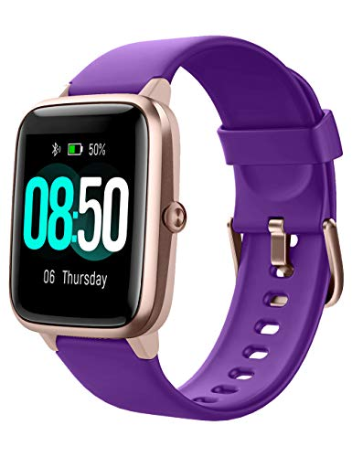 YAMAY Smart Watch Fitness Tracker Watches for Men Women, Fitness Watch Heart Rate Monitor IP68 Waterproof Digital Watch with Step Calories Sleep Tracker, Smartwatch Compatible iPhone (Purple)