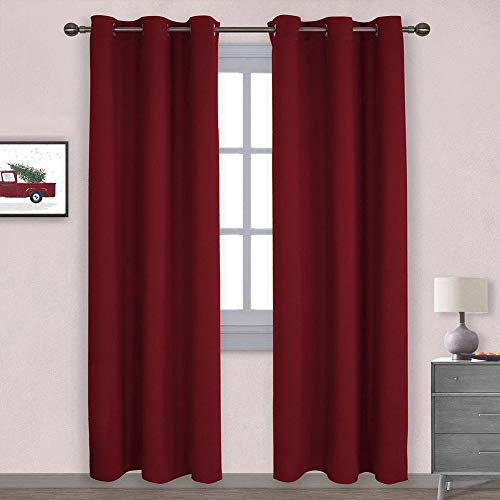 NICETOWN Home Decorations Thermal Insulated Solid Grommet Top Blackout Living Room Curtains/Drapes for Gift (1 Pair, 42 x 84 inches, Red)