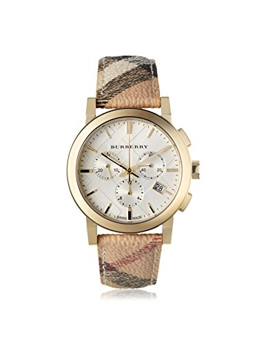 Burberry Women's BU9752 The City White Plaid Leather Watch