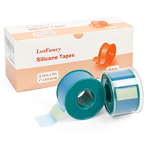 6Rolls LotFancy Medical Soft Silicone Tape 1' x 5.5Yards, Transparent Adhesive Water-Proof Surgical Tape, Pain-Free Removal, Surgery First Aid Tape for Wound and Sensitive Skin, Latex Free