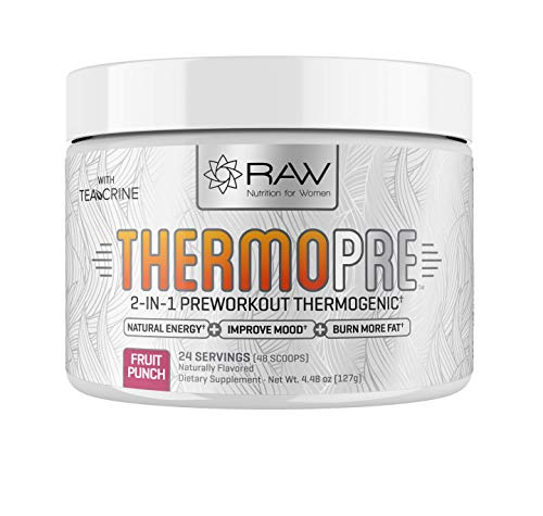 RAW Synergies Pre Workout Thermogenic Fat Burner Powder for Women and Men, All Natural Energy & Weight Loss Supplement – Focus & Metabolism Booster Drink – No Artificial Sweeteners, Fruit Punch, 24SV
