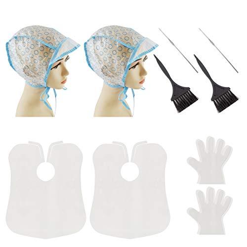 2 Sets Hair Highlight Kit DIY Coloring Tool Kit, Hair Tinting Dye Brush Shower Cap and Gloves Hair Dyeing Tools