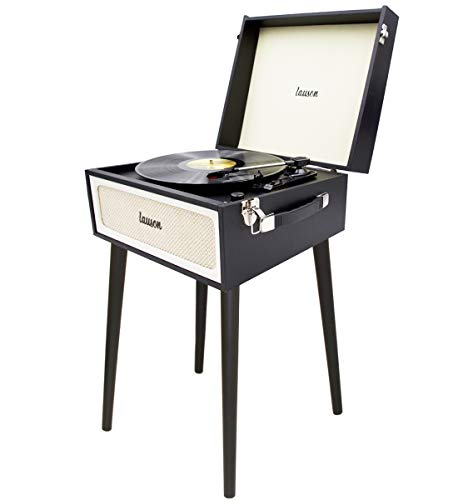 Lauson YT577 Vinyl Record Player with Speaker   Vintage Style   Standing Record Player USB   3-Speed Turntable and Digital Encoder   Portable   Headphone Jack and RCA   Extra Stylus (Black)