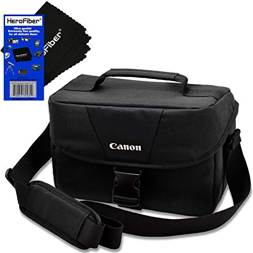 Canon Well Padded Compact Multi Compartment Gadget Bag for EOS 7D/7D Mark II, 70D, 77D, 80D, Rebel T2i, T3, T4i, T5, T5i, T6, T6i, T6s, T7, T7i, SL1, SL2 & SL3 DSLR Cameras + HeroFiber Cleaning Cloth