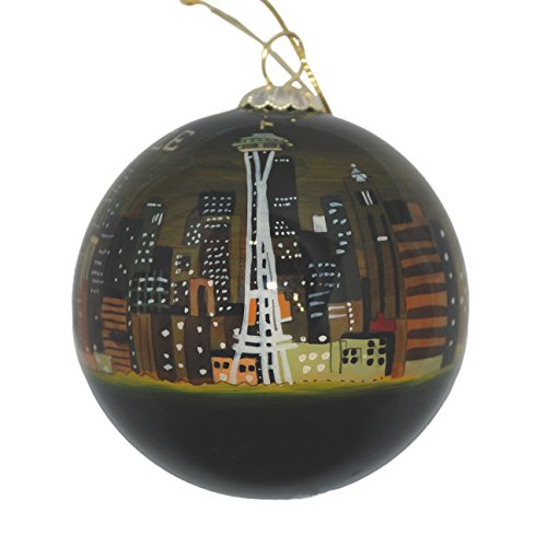 Hand Painted Glass Christmas Ornament - Seattle, Washington Skyline Night