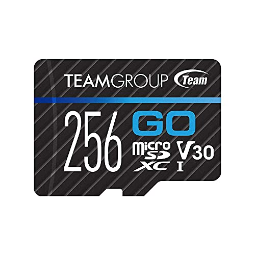 TEAMGROUP GO Card 256GB Micro SD Card for GoPro & Action Cameras, MicroSDXC UHS-I U3 V30 High Speed Flash Memory Card with Adapter for Outdoor, Sports, 4K Shooting TGUSDX256GU303