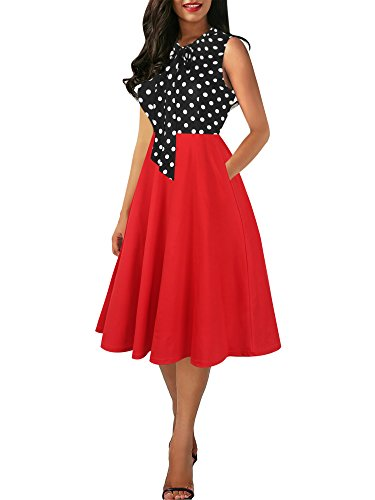 oxiuly Women's Vintage Polka Dot Patchwork Hepburn Style V-Neck Bow Tie Sleeveless Casual Contrast Slim Swing Dress OX278 (M, Red)