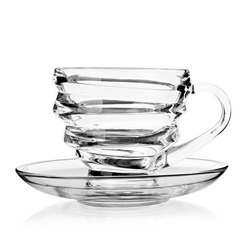 Glass Spiral Coffee Cup with Saucer Coffee Mug Set-B 2.8x3.7 inch