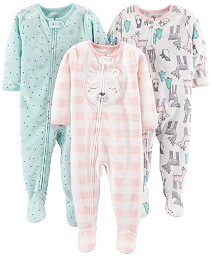 Simple Joys by Carter's Girls' 3-Pack Loose Fit Flame Resistant Fleece Footed Pajamas, Pink Deer/Blue Snowflakes/Pink Check, 18 Months
