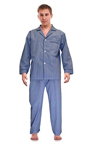 RK Classical Sleepwear Mens Broadcloth Woven Pajama Set, Size Large, Royal Blue, Plaid