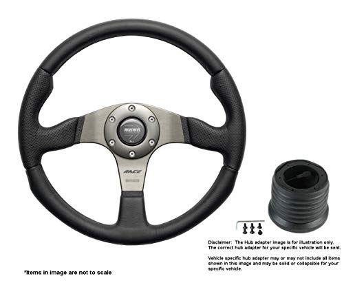 MOMO Race 350mm (13.78 Inches) Leather Steering Wheel w/Brushed Anthracite Anodized Spokes and Hub Adapter for Mitsubishi Evo 8-9 Part # RCE35BK1B + 6116