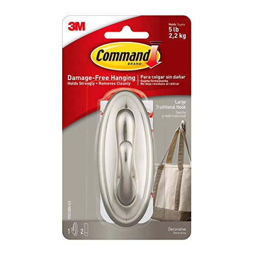 Command Traditional Plastic Hook, Large, Brushed Nickel, 1-Hook (17053BN-ES), Great for dorm decor