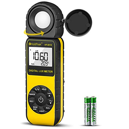 Light Meter HOLDPEAK HP-881D Digital Lux Meter 0.01-400,000 Lux /1-40,000 FC Measuring Ranges and 270° Rotatable Detector for LED Lights and Plants Lumen Meter