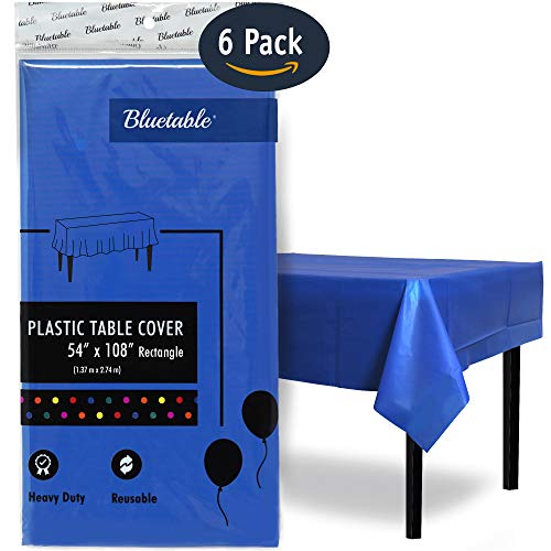 "Plastic Tablecloth Disposable Table Cloth Blue Rectangle - Heavy Duty (54"" x 108"") 6 Foot or 8 Foot Tables, Premium Royal Blue Table Covers Party Tablecovers Birthdays Christmas [6 Pack]"