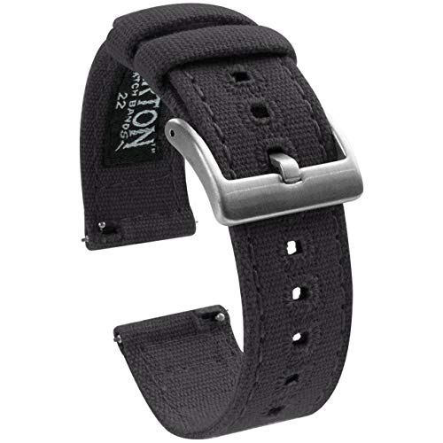 22mm Smoke Grey - BARTON Canvas Quick Release Watch Band Straps - Choose Color & Width - 18mm, 19mm, 20mm, 21mm, 22mm, 23mm, or 24mm