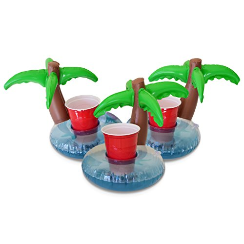 GoFloats Inflatable Pool Drink Holders (3 Pack) Designed in the US | Huge Selection from Unicorn, Flamingo, Palm and More | Float Your Hot Tub Drinks In Style
