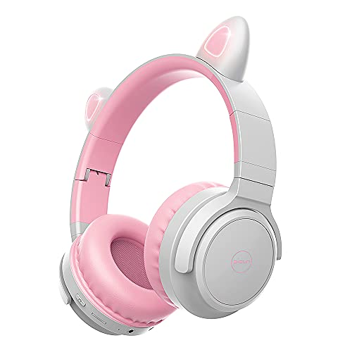 PicunB29 Kids Headphone with Microphone Wireless Bluetooth 5.0,40Hours Playing Wireless Over Ear Headphone for Kids Girls Boys,Stereo Sound, for Online Learning/School/Travel/Tablet (Gray Pink)