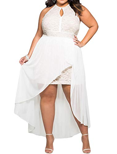 818 - Plus Size Hi Low Lace Overlay Halter Cocktail Wedding Maxi Dress (3X, White)
