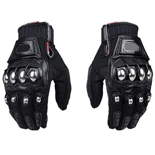 Steel Outdoor Reinforced Brass Knuckle Motorcycle Motorbike Powersports Racing Textile Safety Gloves … (Medium, Black)