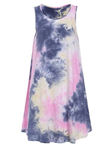 Romwe Women's Tie Dye T-Shirt Sleeveless Casual Loose Swing Dress Tunic Top Pink XL