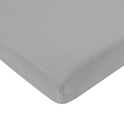 American Baby Company 100% Natural Cotton Value Jersey Knit Fitted Portable/Mini-Crib Sheet, Gray, Soft Breathable, for Boys and Girls, Pack of 1