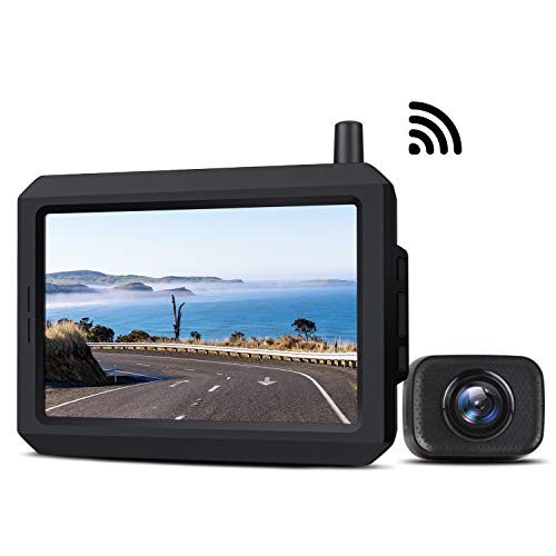 5 Inch Wireless Backup Camera Kit with Digital Signal, Waterproof Rear View Camera with 5″ TFT-LCD Monitor, Ideal for Sedans, Pickup Truck, SUV, Minivans (K7)