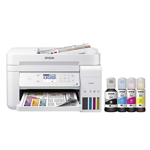Epson EcoTank ET-3760 Wireless Color All-in-One Cartridge-Free Supertank Printer with Scanner, Copier and Ethernet, Regular