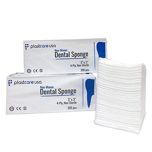 600 3x3 Non Woven Sponges, Non-Sterile Dental Gauze for First Aid and Medical Supplies, 3 Packs of 200