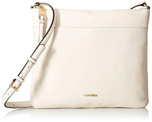 Calvin Klein North South Pebble Leather Crossbody, White