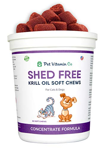 Pet Vitamin Co - Krill Oil Shed-Free Soft Chews for Dogs - Reduce Shedding & Itching - Rich in Omega 3 & Antioxidants - Improves Skin & Coat - Made in USA - 60 Soft Chews