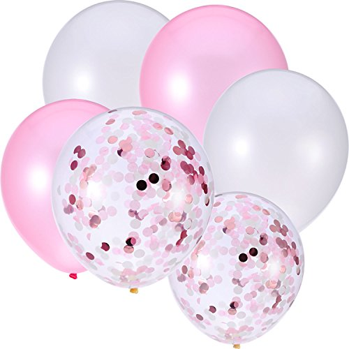 Jovitec 30 Pieces 12 Inches Latex Balloons Confetti Balloons Metallic Balloons for Wedding Birthday Party Decoration (White and Pink)