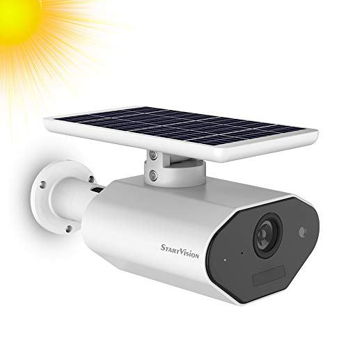 Solar Battery Powered Security Camera, StartVision Outdoor 2.4GHz WiFi IP Camera with Motion Detection Night Vision, Wireless Outdoor Security Camera Built in Battery, IP65 Waterproof Weatherproof