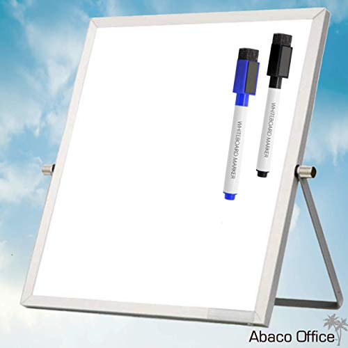 Small Dry Erase Whiteboard for Desktop 12x12 Inches by Abaco Office| 2 Free Markers w/Magnetic Eraser Cap!! | Mini Portable Dual-Sided Easel 360° Rotation for Office, Home, School