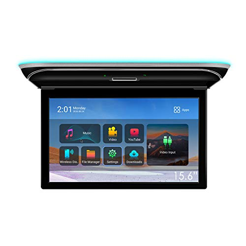 """XTRONS Android Car Overhead Player 15.6"""" Wide IPS Touch Screen 8K Video Car Roof Mount Monitor with Built-in Stereo Speakers Flip Down Overhead Car Monitor Support Bluetooth, WiFi, HDMI, USB, IR"""
