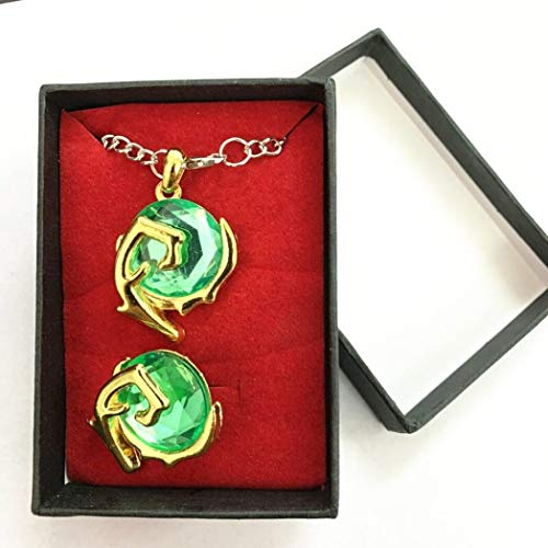 DEOLBA 2 pcs/set Spiritual Stones Set of Charms Zora's Sapphire Pendant Ocarina of Time For Zelda Legend Keychain Necklace